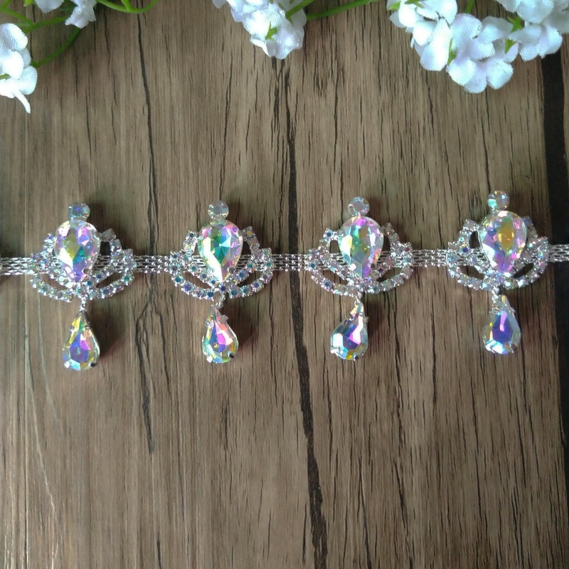 Darmowa wysyłka 5 jardów Rhinestone Bridal przycinanie dla suknia ślubna Bridal Sash Rhinestone aplikacja łańcuszek z kryształów górskich RC12301 1 w Kryształy górskie od Dom i ogród na  Grupa 1