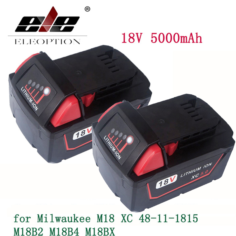 ELEOPTION 2PCS 5000mAh 18V Li-Ion Replacement Battery for Milwaukee M18 XC 48-11-1815 M18B2 M18B4 M18BX M18BX eleoption 2pcs 18v 3000mah li ion power tools battery for hitachi drill bcl1815 bcl1830 ebm1830 327730