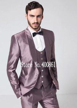 Stylish Design One Button Shiny Groom Tuxedos Groomsmen Shawl Lapel Mens Suits Blazers (Jacket+Pants+Vest+Tie) W:1167