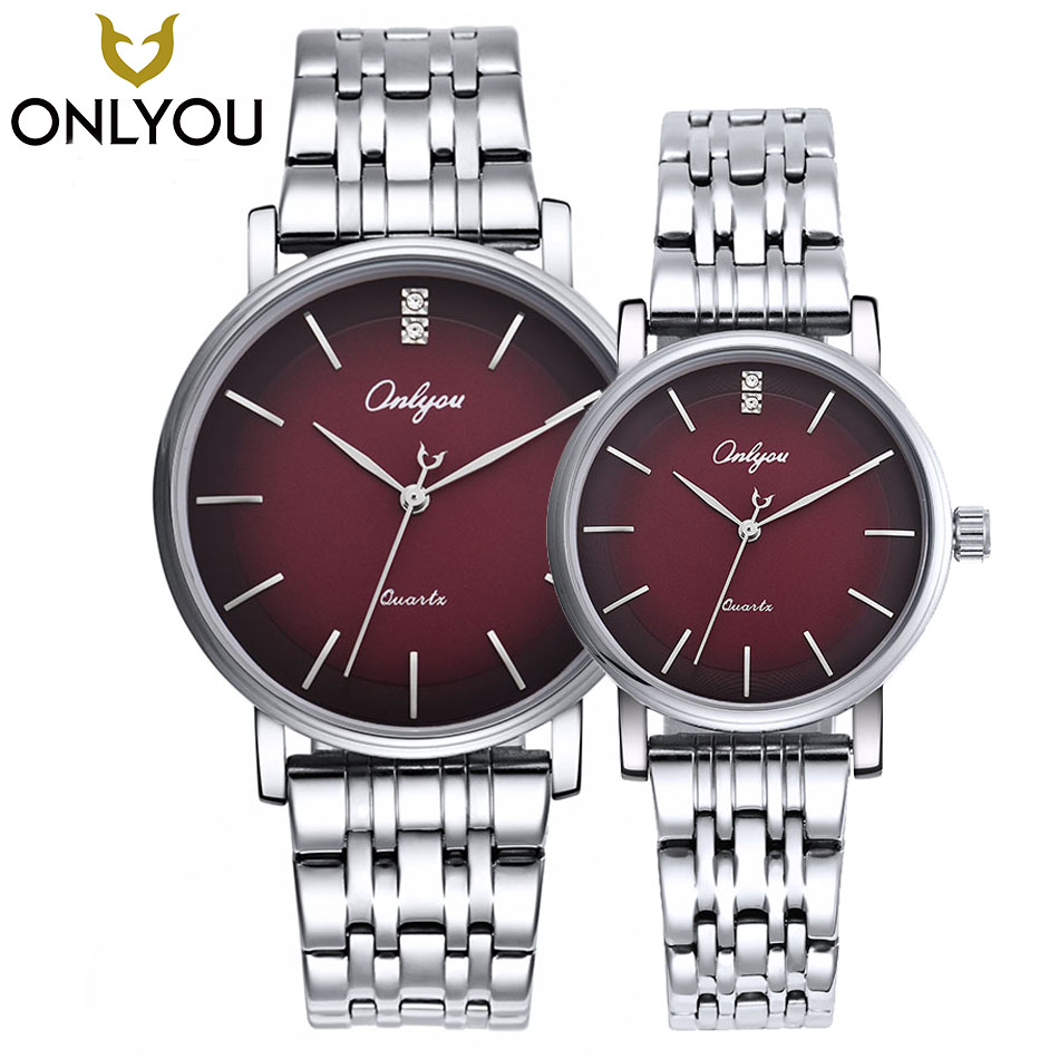 ONLYOU Lover Watches Mens Top Brand Luxury Fashion Watch Women Dress Quartz Clock Stainless Steel Band Wristwatch Gift Wholesale daybird 3791 ceramic band quartz women s wrist watch w rhinestone black rose gold 1 x lr626
