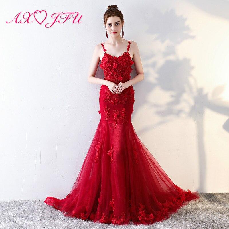 AXJFU Rose flower red   evening     dress   princess red trumpet flower   evening     dress   party flower red mermaid   evening     dress