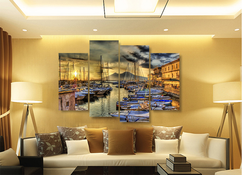 Canvas Painting 4 Piece Canvas Art Naples Italy Wharf Boats HD ...