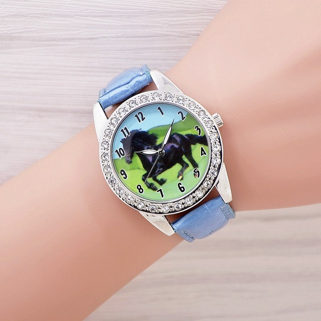 Hot Popular Brand New Black Horse Animal Watch Quartz Crystal Diamonds Black Str