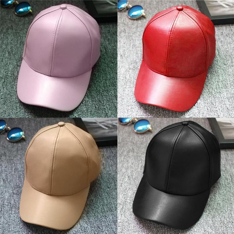 Unisex Man Woman Outdoor Snapback Hats PU Leather Adjustable Baseball Caps 2017