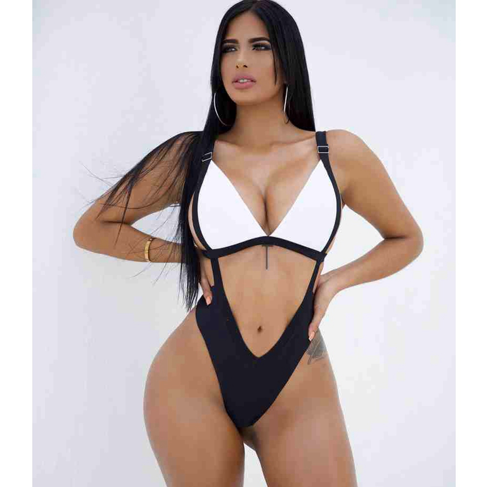 Women Hot Solid Bandage Halter One Piece Swimsuit High Cut Swimwear High Waisted  Bathing Suit Beach Bodysuit Monokini