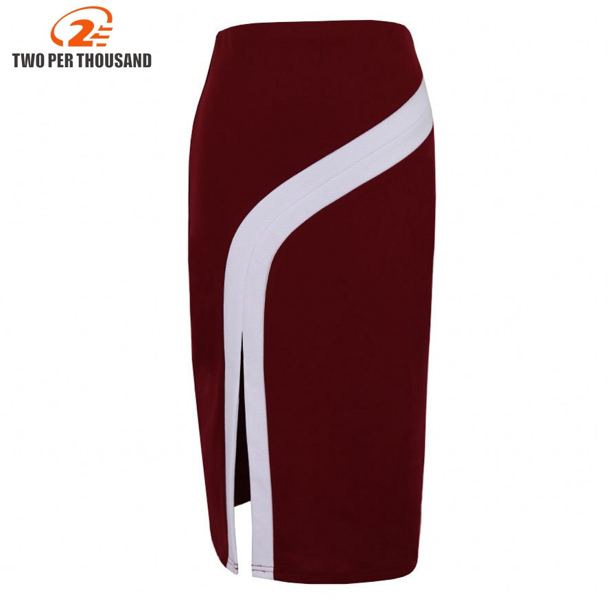 S-4XL Plus Size Vintage Ladies Pencil Midi Skirts Women High Waist Stretch Casual Wine Red Black Office Work Wear Saia Skirt