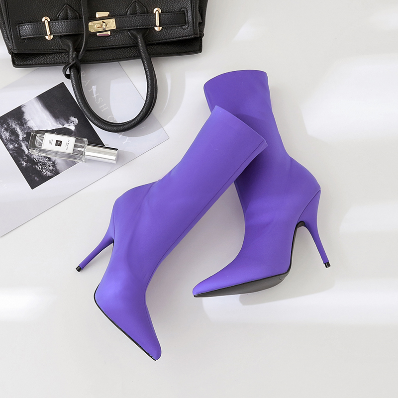 2018 Spring and autumn new high-heeled Single shoes pointed elastic socks shoes solid color tube Middle tube shoes.2018 Spring and autumn new high-heeled Single shoes pointed elastic socks shoes solid color tube Middle tube shoes.