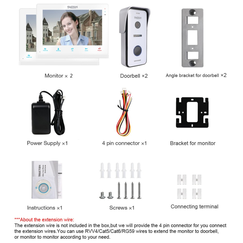 Купить с кэшбэком TMEZON  Wireless/Wifi Smart IP Video Doorbell Intercom System ,10 Inch+7 Inch Screen Monitor with 2x720P Wired Door Phone Camera