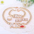 2016 Fashion Choker Pendants Necklace For Women Cute Red Kiss Lips Gold Plated Necklace Sets Fashion Jewelry Sets