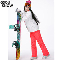 Gsou Snow For Women Ski Jacket Outdoor Winter Ski Suit For Women Waterproof 10000 Windproof Snowboard Coat +Thick warm pants
