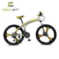 Richbit nieuwe aluminium vouwfiets 27 snelheden mountainbike dual schijfremmen variabele snelheden racefiets racefiets goud