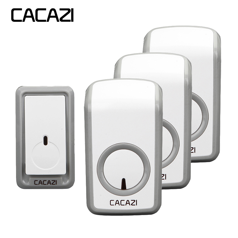 CACAZI Wireless Waterproof Doorbell 350M Remote LED Light 1 Battery Button 3 Receiver Home Cordless Doorbell US EU UK Plug CACAZI Wireless Waterproof Doorbell 350M Remote LED Light 1 Battery Button 3 Receiver Home Cordless Doorbell US EU UK Plug