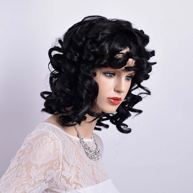 Short Black Wig For Women Short Curly Synthetic Wig