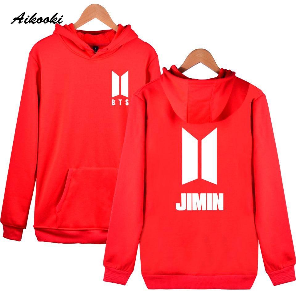 Aikooki BTS Kpop Women Hoodies Sweatshirts Bangtan Suga Jimin Jin J-Holp Rap Monster Women Ladies Winter Korea Fans Red Female