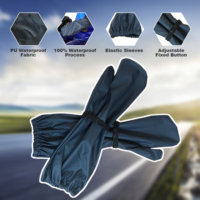 QIAN RAINPROOF New Long PU Waterproof Material Motorcycle Electric Bicycle Raincoat Accessories Windproof Rain Gloves Hot Sale
