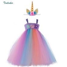 Children Kids Halloween Unicorn Costumes Rainbow Tutu Tulle Dress with Hair Hoop Princess Flower Girls Party 2-10Y