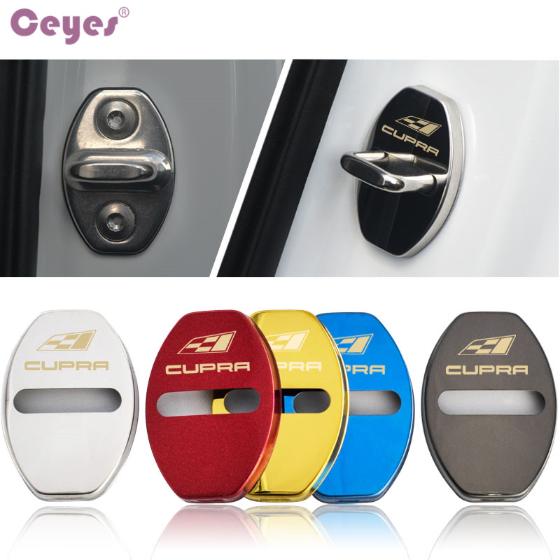 Ceyes 4pcs Car Styling Door Lock Cover Case For Seat Cupra Logo Leon Ibiza Altea Belt R Racing FR Auto Accessories Car-Styling
