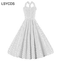 LSYCDS Polka Dot Retro Vintage Dress Halter Sleeveless 50s Casual Party Robe Rockabilly Swing Dresses Plus