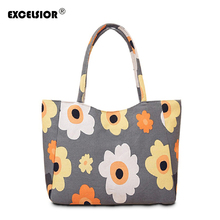EXCELSIOR Waterproof Canvas Casual Zipper Shopping Bag Large Tote Women Handbags Floral Printed Ladies Single Shoulder