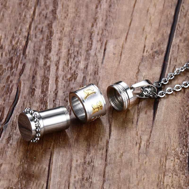 ZORCVENS oro Color plateado Om Mani Padme Hum Spinner colgante collar para mujeres budismo estilo rueda de oración Acero inoxidable hombres