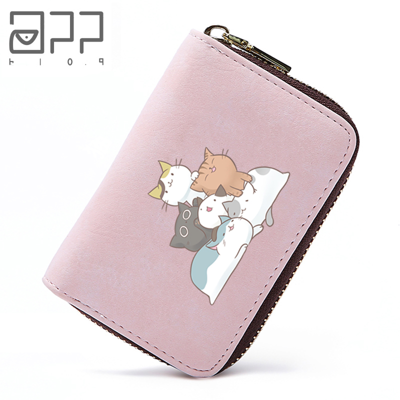 APP BLOG Cute Cartoon Cat Family Leather Print Women Girls Card Holder 4 Colors ID Cards Credit Protector Organizer Card Wallet blog