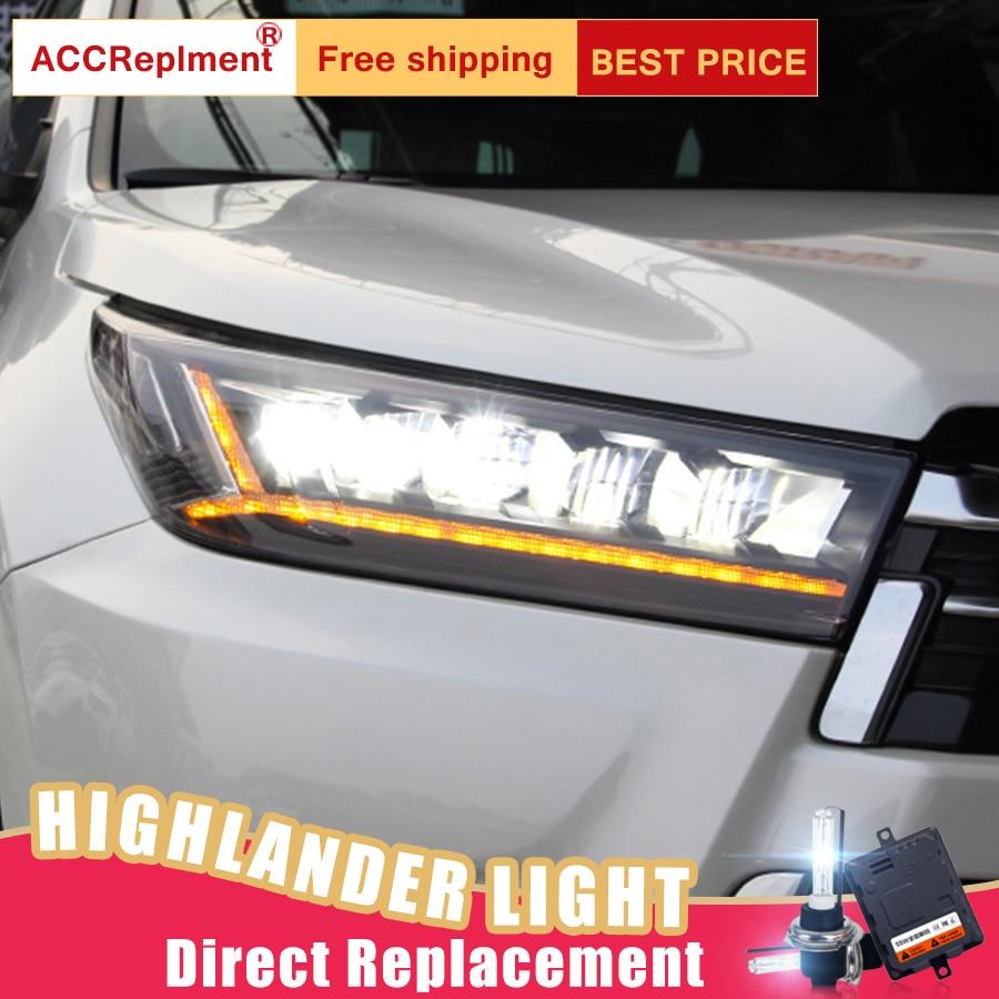 2Pcs LED Headlights For Toyota Highlander 2018 led car lights Angel eyes ALL LED KIT Fog
