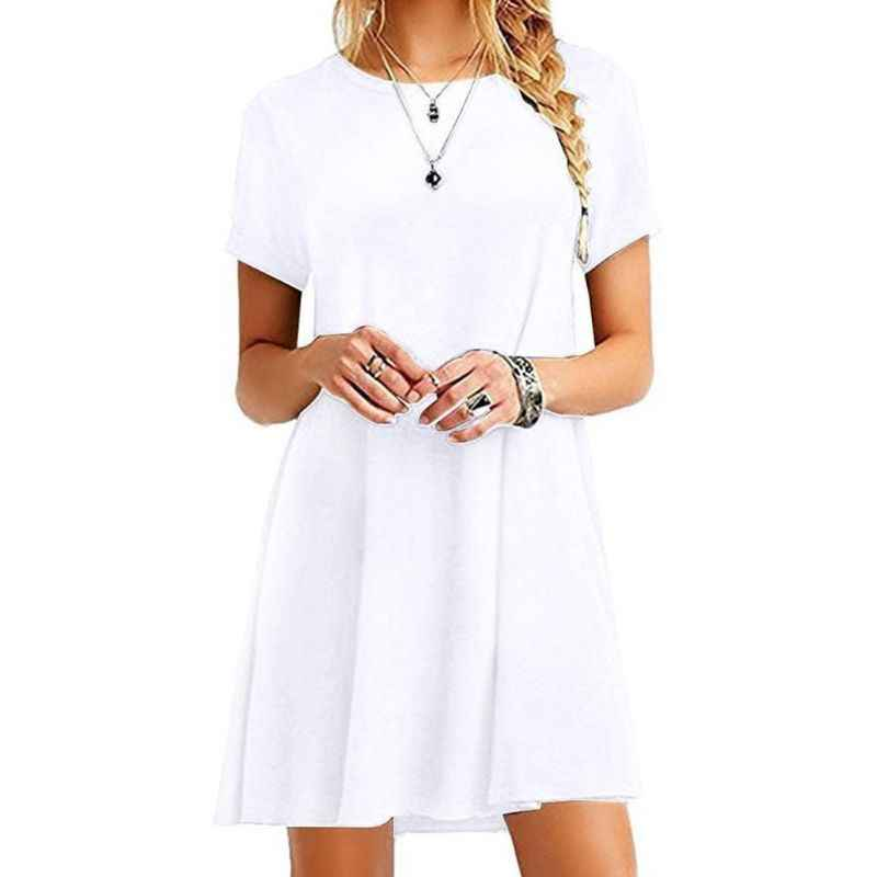 여성 여름 드레스 반팔 미디 스윙 티셔츠 드레스 플러스 사이즈 플레인 솔리드 컬러 크루 넥 캐주얼 루즈 풀오버 튜닉 탑스