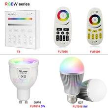 MiLight 5W GU10 9W E27 Smart FUT018/FUT016 RGBW RGBCW RGBWW LED Bulb Lamp Light AC100~240V 2.4G RGB Remote FUT096/FUT095/T3 kzkrsr original milight led bulbs 4w 5w 6w 9w gu10 e27 e14 rgbw rgbww lamp wireless control wifi 4zone 2 4g rf remote controller