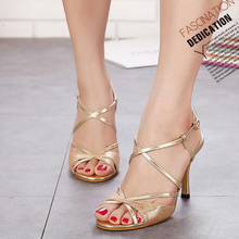 free shipping women sandals gold color  Woman Sweety High Heeled Sandals, Ladies Summer Party Shoes 60