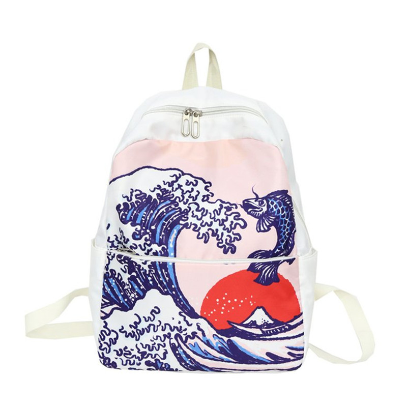 Travel Backpack Canvas University-Style Introduction Literature Wind-Print China High-Quality