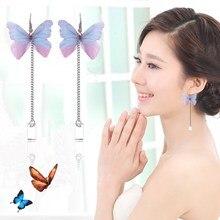 2018 Fashion Butterfly Long Eardrop For Women Costume Jewelry Accessories Korean Style Metal Earrings