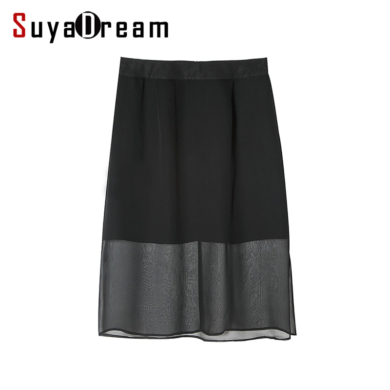 Women Silk Skirt 100%Real Silk Black Fashion Side Vent Two Layers Skirts 2017 Summer New