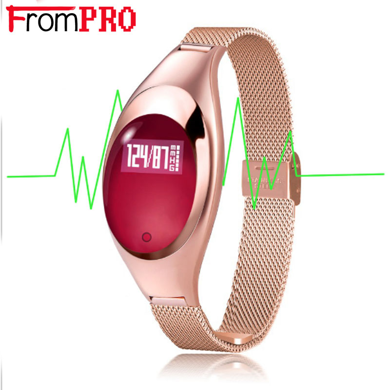 FROMPRO Women Fashion Band Z18 Smart bracelet Blood Pressure Heart Rate Monitor Pedometer Fitness Tracker Watch FOR Android IOS mommy bag for baby care cartoon pattern maternity bag for cart large capacity travel backpack mom nappy diaper bag for stroller