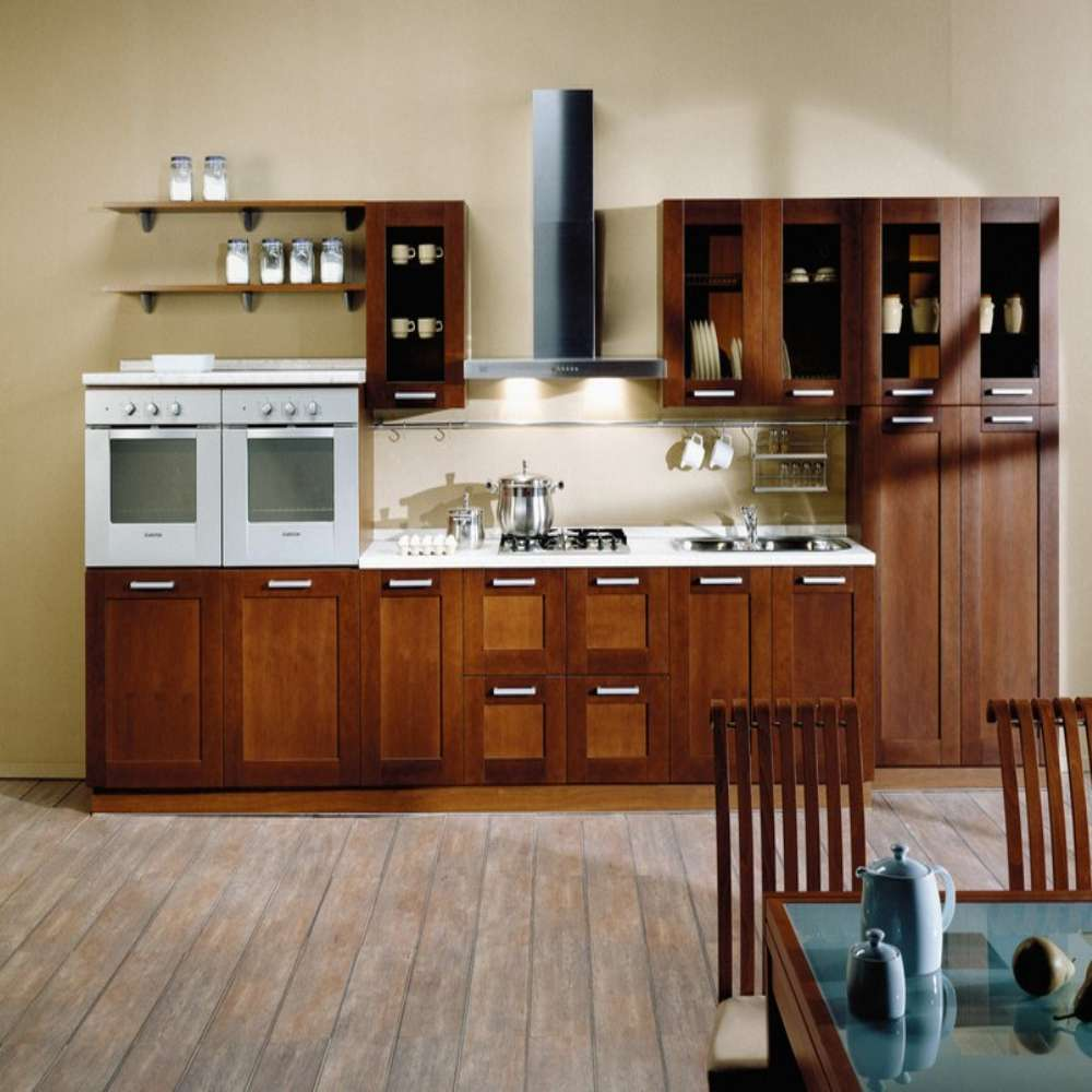 Brown Kitchen Cabinets: Classical Brown Small Wood I Shaped Kitchen Cabinet