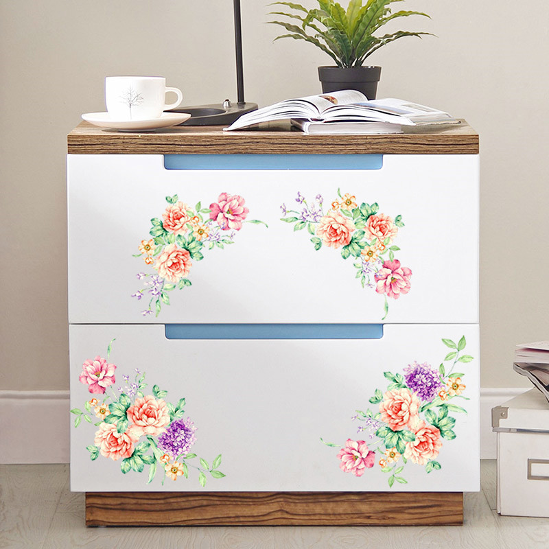 Romantic Peony Flowers Decorative Wall Stickers Home Poster On The Cabinet Decor PVC Decals Living Room Toilet Fridge Decoration