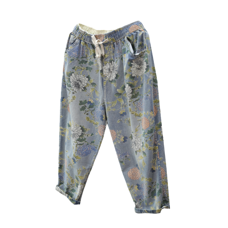 Summer Capris Floral Print Boyfriend Jeans For Women Harem Pants Elastic Waist Denim Jeans Vaqueros Mujer in Jeans from Women 39 s Clothing