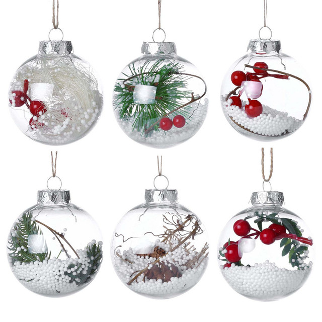 2018 Romantic Design Christmas Decorations Ball Transparent Can Open Plastic Christmas Clear Bauble Ornament Gift Present