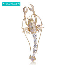 MECHOSEN Gorgeous Cubic Zirconia Lobster Shape Brooches For Women Men Kids Gold Color Brass Banquet Dress Accessories riverdale(China)