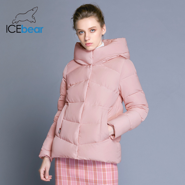 ICEbear2018 חדש נשים של סלעית חורף כותנה בגדי windproof חם אישה בגדי אופנה מעיל נשי מותג מעיל GWD18088D
