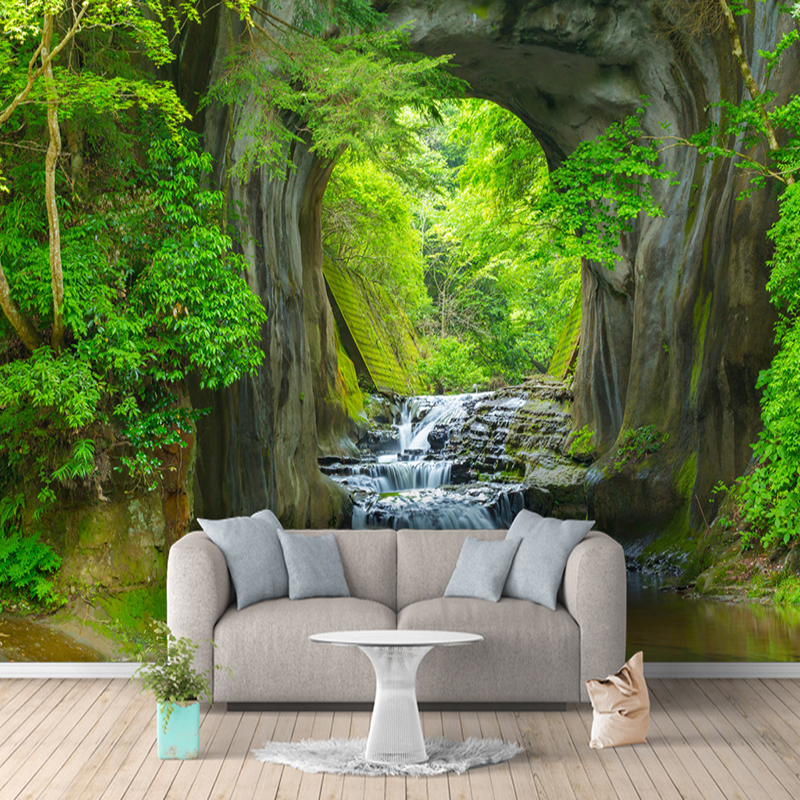 Custom 3D Photo Wallpaper Murals Green Forest Cave Scenery Living Room Bedroom Background Wall Mural Non-woven Wallpaper Decor