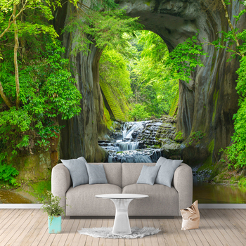 Custom 3D Photo Wallpaper Murals Green Forest Cave Scenery Living Room Bedroom Background Wall Mural Non-woven Wallpaper Decor custom photo wallpaper 3d stereo dinosaur theme large murals primitive forest living room bedroom backdrop decor mural wallpaper