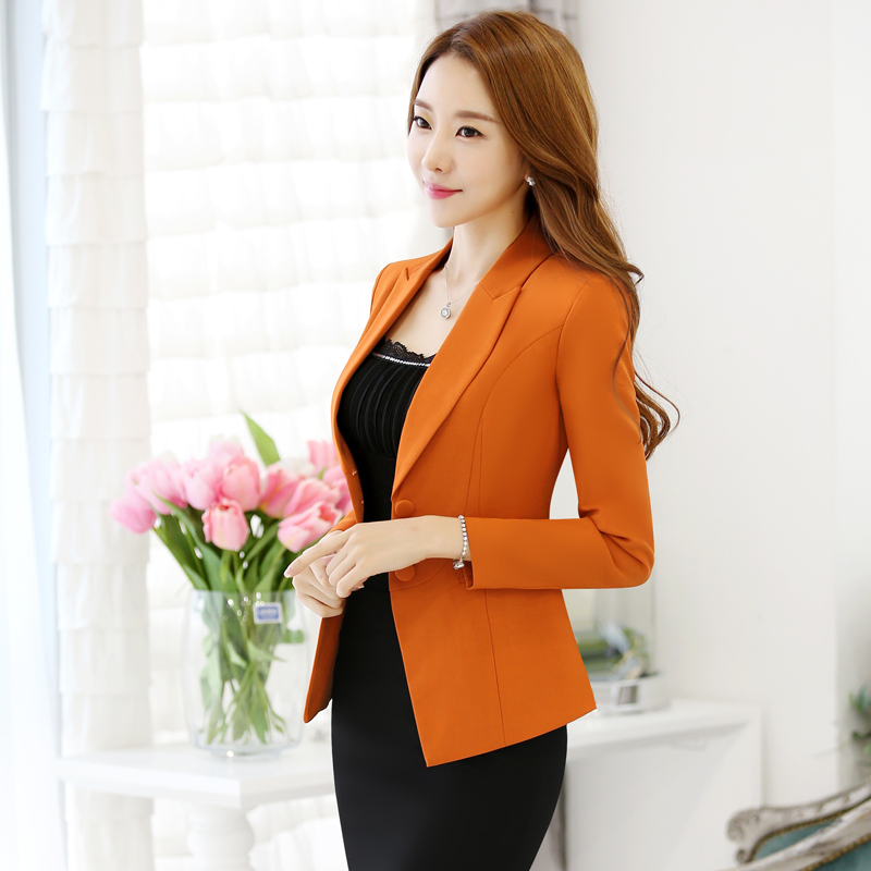 Autumn And Winter New Leisure Casual Orange Suits Large Size Slim Long-sleeved Suit Jacket