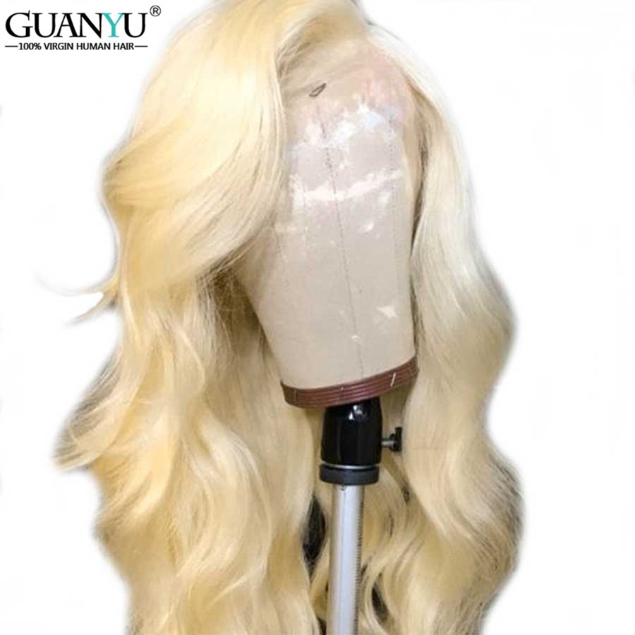 613 Blonde 13 4 Wavy Lace Front Human Hair Wigs Pre Plucked With Baby Hair Brazilian