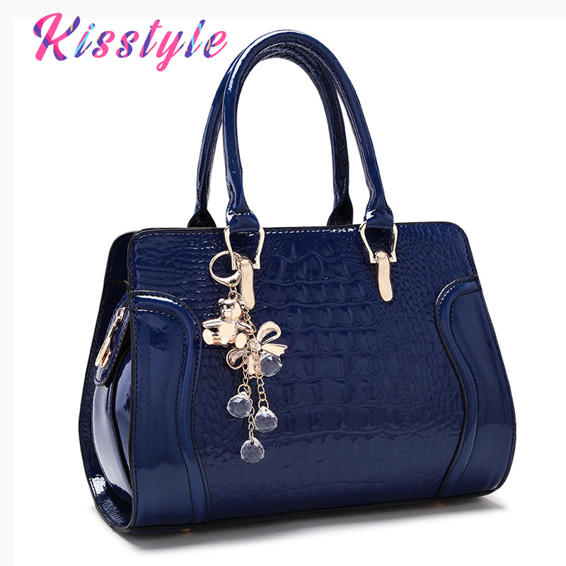 Kisstyle Crocodile pattern Leather Women Handbag Large Capacity Female Tote Shoulder Bag Top-handle Ladies Big Messenger Bag