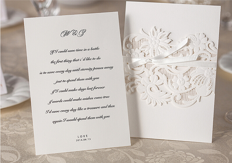 usa market best selling white laser cut cover wedding invitation