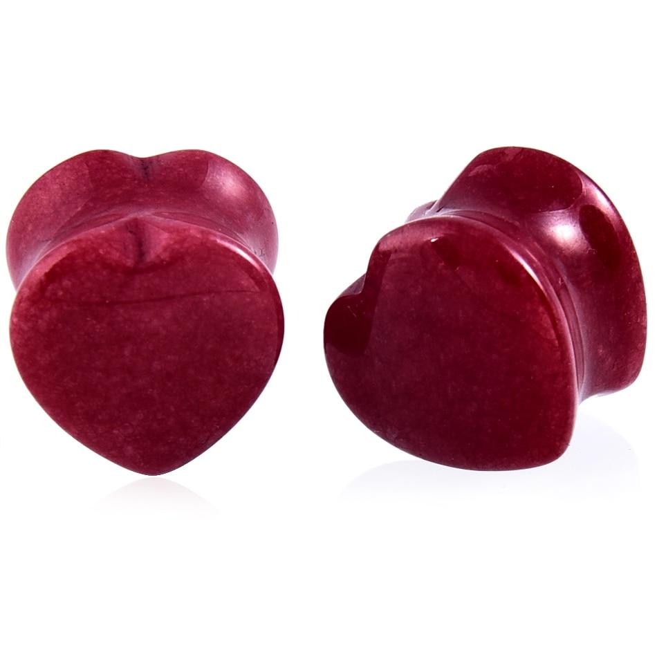 1Pair Heart Stone Ear Plugs Tunnels Double Flared Earring Gauges Stud Tunnels Earlets Fake Plug Ear Rings Body Piercing Jewelry