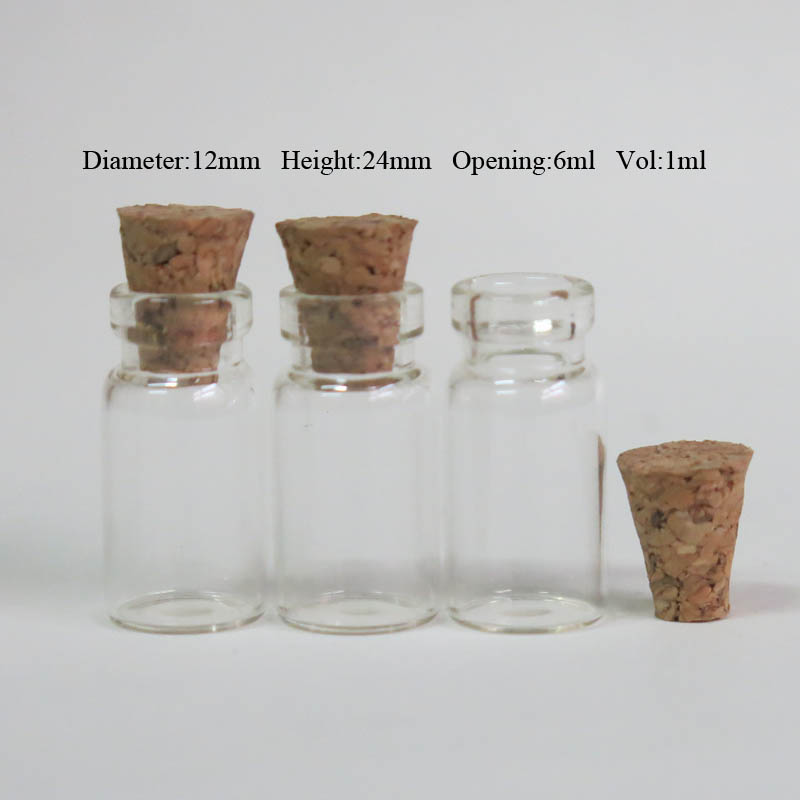 Купить с кэшбэком 100 x 1ml Mini Clear Glass Bottle with Wood Cork 1cc Small Cork Stopper Transparent Glass Sample Vials Wishing Bottle Containers