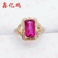 Xin yi peng 18 k rose gold with diamonds inlaid natural tourmaline ring, the woman ring, engagement wedding gift
