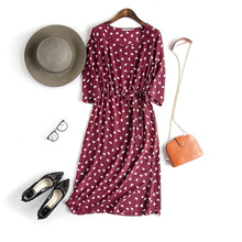 Summer Fashion O-neck New Women Woman Lace Lady Girl Soft 100% Silk Dress YH180