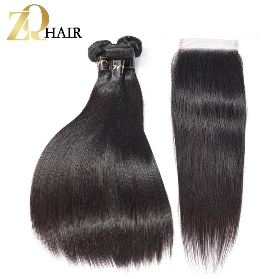 ZQ HAIR Mongolian Hair 3 Bundles With Closure Human Hair Bundles With Closure 4x4 Natural Color Non Remy Hair Weave